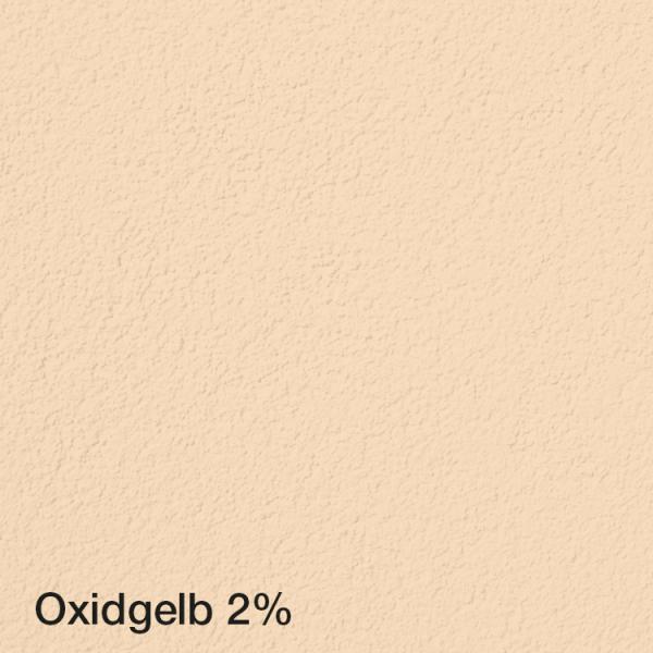 Farbton Acryl Fassadenfarbe Oxidgelb 2% auf Fassade