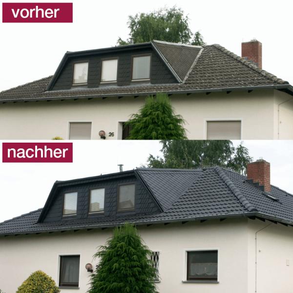 Hoepner Spezial Acryl Dachbeschichtung Anthrazit vorher nachher