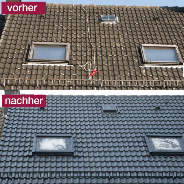 Hoepner Spezial Acryl Dachbeschichtung Anthrazit vorher nachher 2