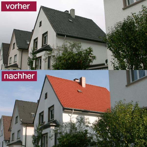Hoepner Spezial Acryl Dachbeschichtung Steildach vorher nachher