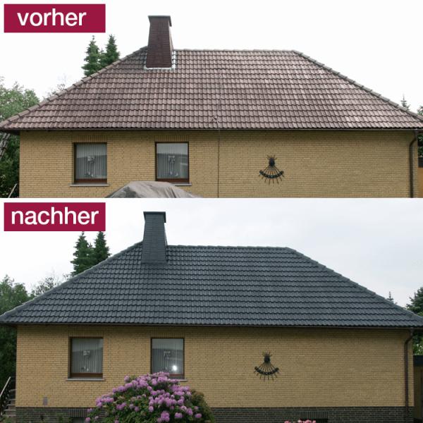 Hoepner Spezial Acryl Dachbeschichtung Steildach vorher nachher Anthrazit 4