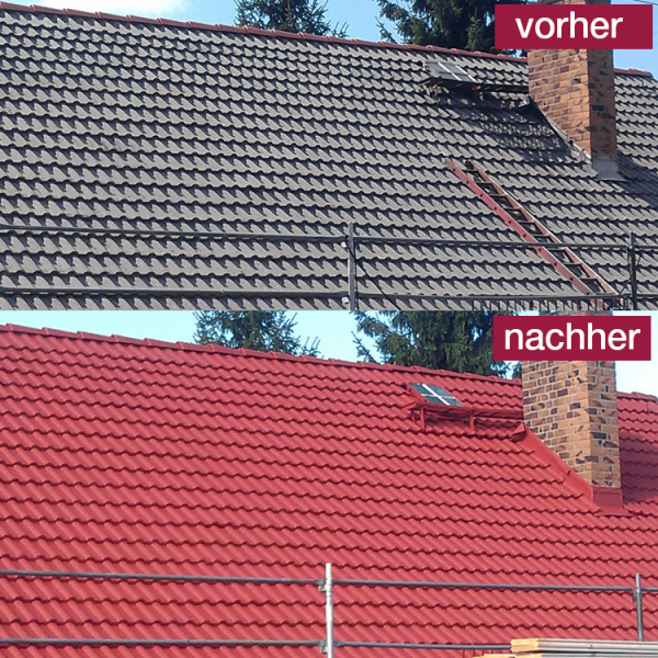 Hoepner Spezial Acryl Dachbeschichtung Steildach vorher nachher Rot 2