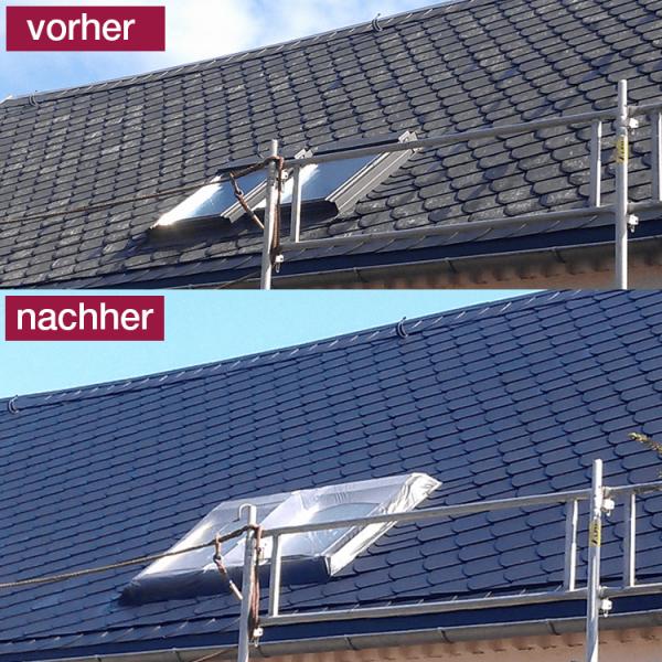 Hoepner Spezial Acryl Dachbeschichtung vorher nachher Schieferblau