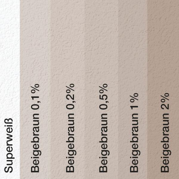 Farbtonvergleich Acryl Fassadenfarbe Beigebraun auf Fassade